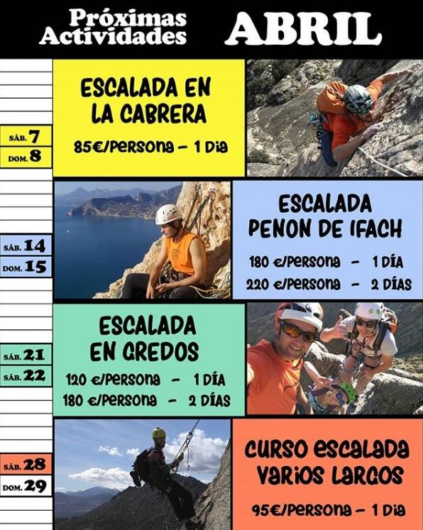Calendario de actividades de escalada de abril de RMSclim