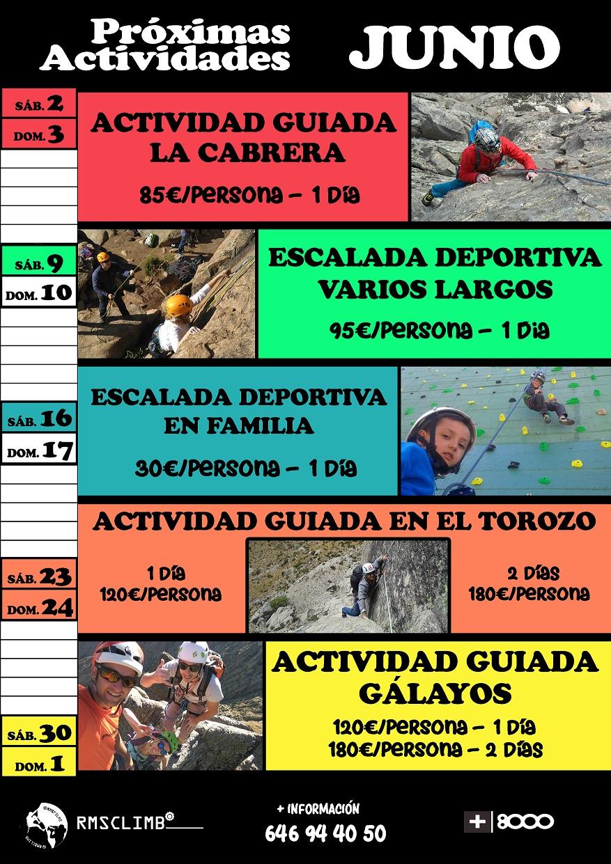 Calendario de actividades de escalada de junio de RMSclim